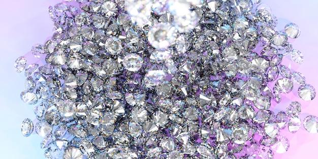 Muchos diamantes en una gran pila, ilustración 3d