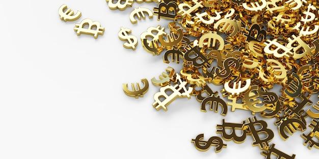 Muchos dólares de oro, euros, símbolos de bitcoin, 3d