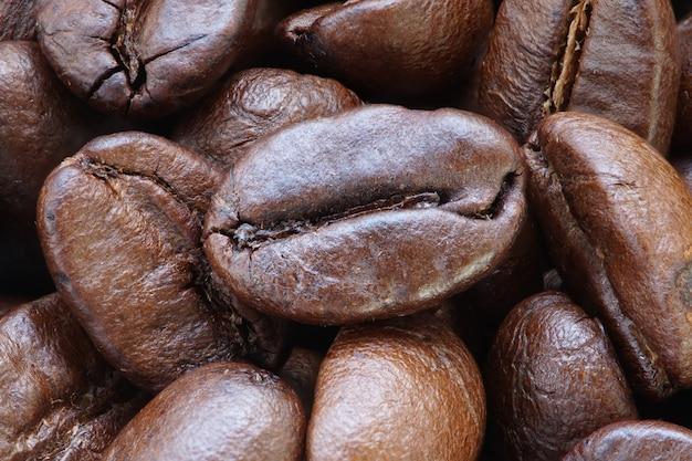 Muchos granos tostados de café y polvo