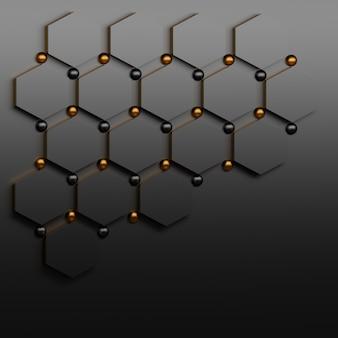 Muchos heaxagons negros con esferas brillantes negras y doradas con espacios en blanco. resumen plantilla para presentación.