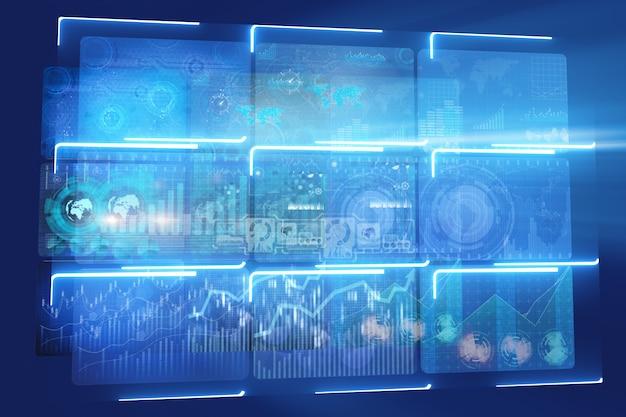 Muchos monitores de pantalla con tablas y gráficos.