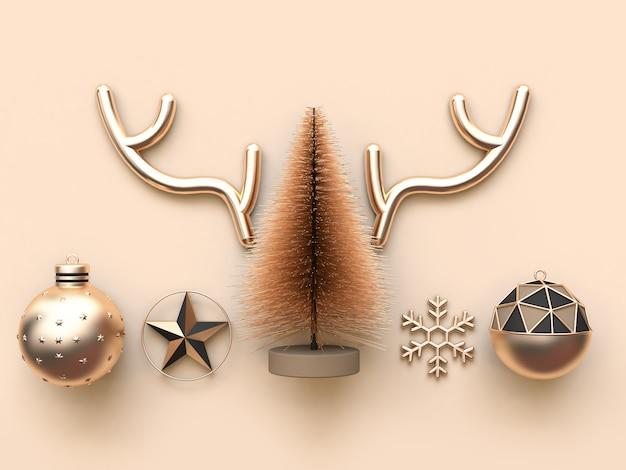 Muchos objetos concepto de navidad mínimo crema suave fondo representación 3d