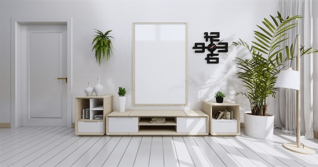Mueble de estante para televisión en habitación vacía moderna y pared blanca.