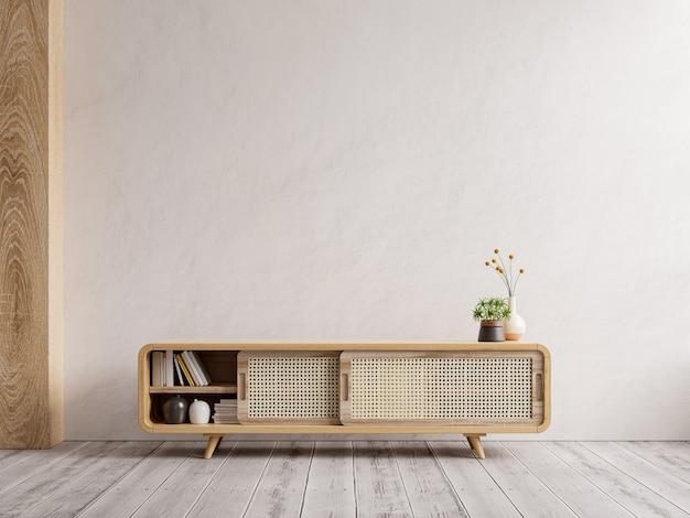 Mueble para maqueta de pared interior de tv, pared blanca representación 3d