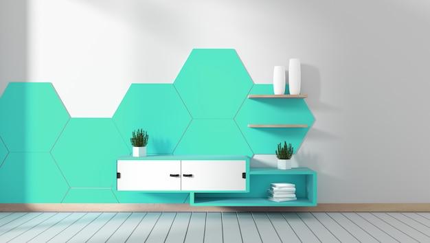 Mueble para televisión en habitación de menta hexagonal con diseños minimalistas, estilo zen. representación 3d