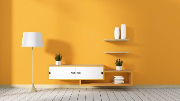 Mueble para televisión en habitación moderna amarilla, diseños minimalistas, estilo zen. representación 3d
