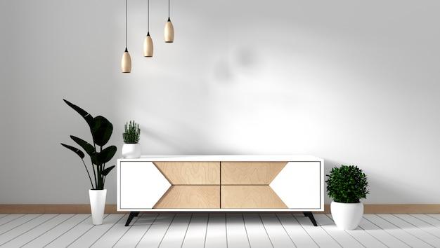 Mueble de televisión en una habitación vacía moderna japonesa - estilo zen, diseños minimalistas. representación 3d