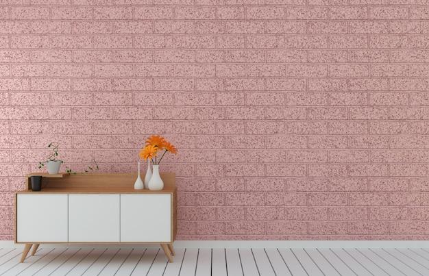 Mueble de televisión en habitación vacía moderna de loft rosa, diseños mínimos, renderizado 3d