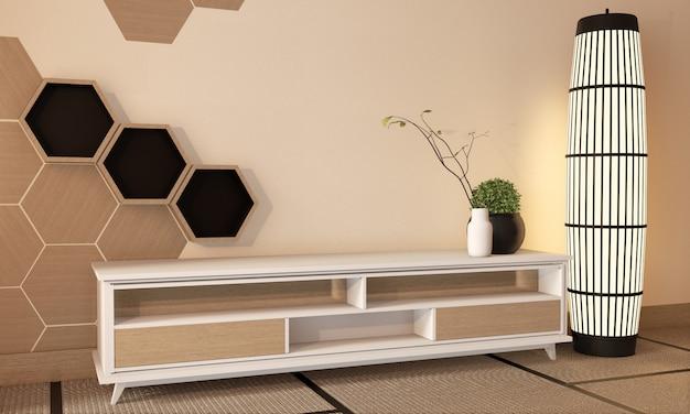 Mueble de televisión de madera con azulejos hexagonales de madera en la pared y piso de tatami, sala de estilo japonés, representación 3d