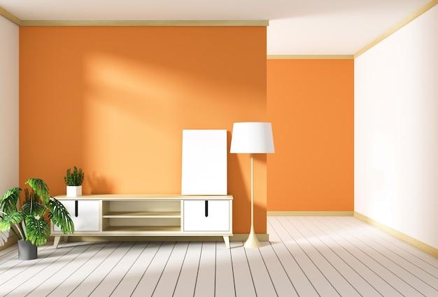 Mueble de televisión en sala roja moderna, diseños minimalistas, estilo zen. representación 3d
