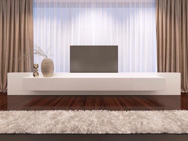 Mueble de tv blanco con renderizado 3d de tv extraíble