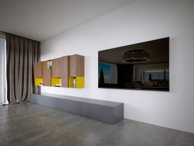 Mueble de tv de estilo moderno en colores marrón y amarillo. representación 3d