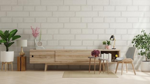 Mueble para tv en living con pared de ladrillo. representación 3d