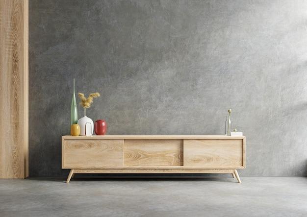 Mueble para tv en maqueta de pared interior de sala de estar sobre fondo de pared de hormigón, renderizado 3d