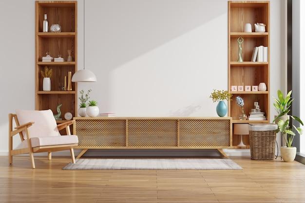Mueble para tv en la pared blanca en sala de estar con sillón, diseño minimalista, renderizado 3d