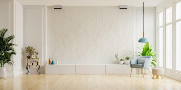 Mueble para tv en la pared de yeso blanco en sala de estar con sillón, diseño minimalista, renderizado 3d