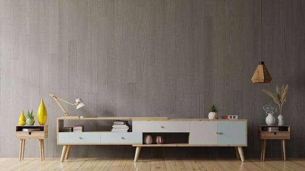 Mueble tv en sala de estar moderna con decoración sobre fondo de pared de hormigón, representación 3d