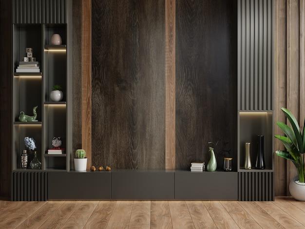 Mueble tv en sala de estar moderna con decoración sobre fondo de pared de madera, renderizado 3d