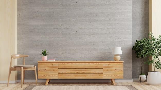 Mueble tv en sala de estar moderna con sillón, lámpara, mesa, flor y planta en muro de hormigón, renderizado 3d