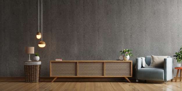 Mueble tv en sala de estar moderna con sillón, lámpara, mesa, flor y planta sobre fondo de pared de hormigón, renderizado 3d