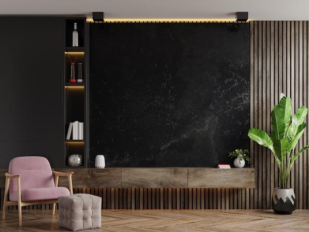 Mueble tv en sala de estar moderna con sillón y planta en pared de mármol oscuro, renderizado 3d