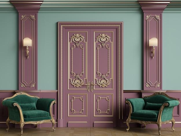 Muebles clásicos en habitación interior clásica.