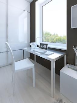 Muebles de color blanco en dormitorio hgh-tech