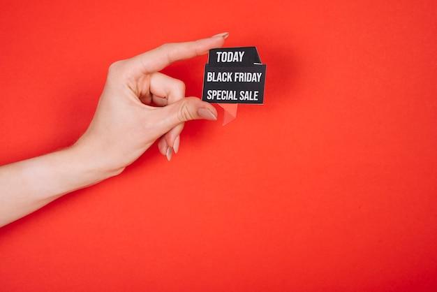 Muestra de espacio de copia con campaña promocional el viernes negro