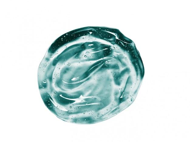 Muestra de gel cosmético azul verde aislado en blanco