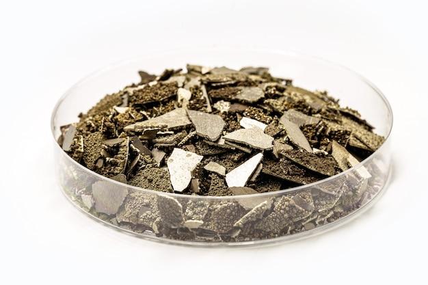 Muestras de manganeso en placa de petri, escamas de metal de manganeso puro utilizadas en la industria, fondo blanco aislado.