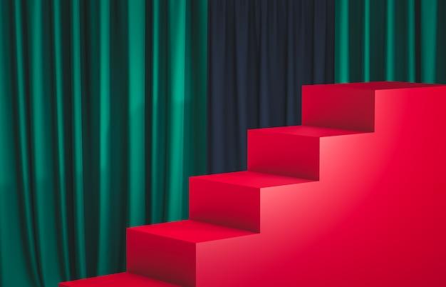 Muestre el podio con las escaleras de la caja del cubo vacío. escena de lujo