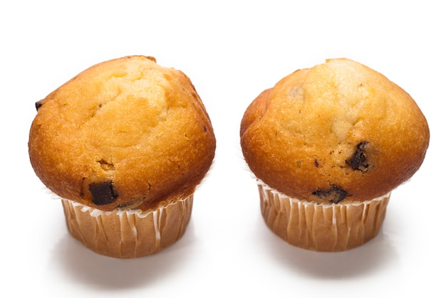 Muffin de chocolate aislado