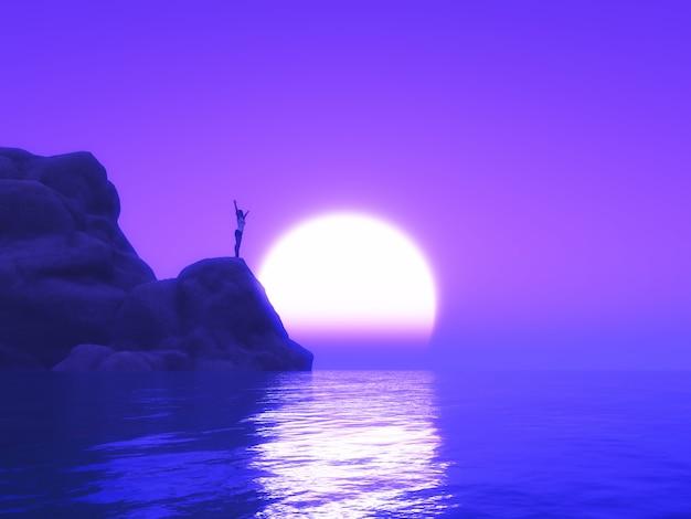 Mujer 3d con los brazos levantados en una formación rocosa contra un cielo al atardecer