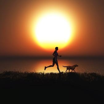 Mujer 3d corriendo con su perro contra un cielo al atardecer.