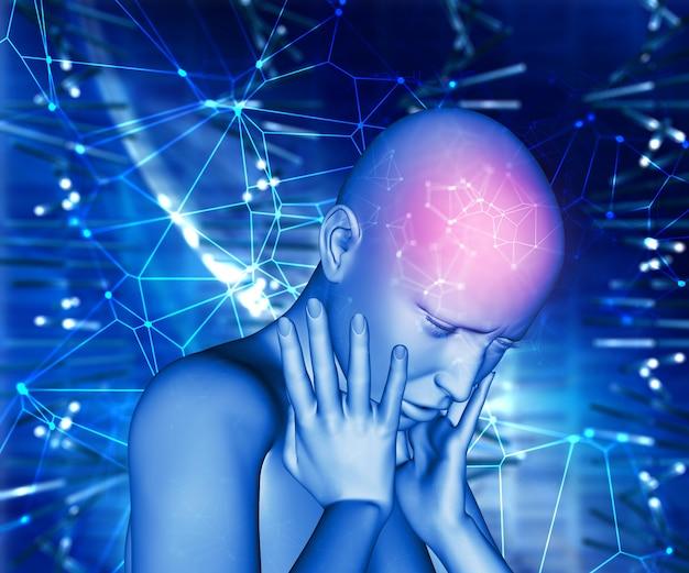 Mujer 3d con dolor en la cabeza
