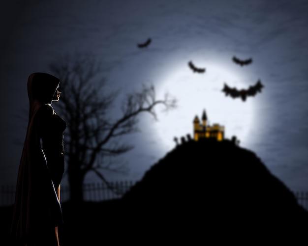 Mujer 3d en manto contra un fondo desenfocado de halloween