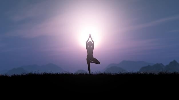 Mujer 3d en pose de yoga contra un paisaje de puesta de sol