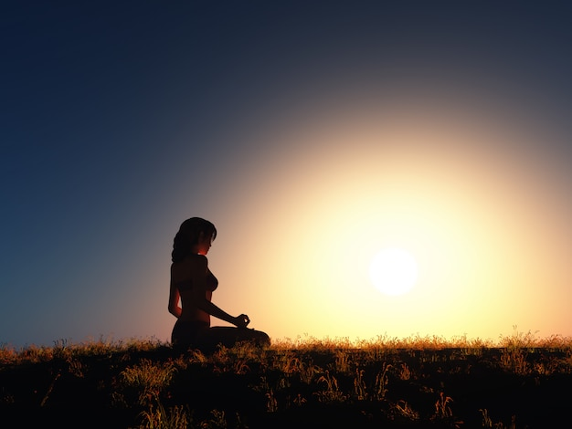 Mujer 3d en posición de yoga contra el cielo del atardecer