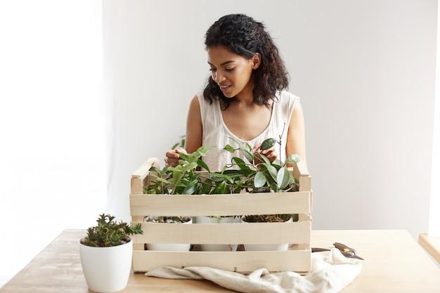 Mujer africana hermosa que sonríe cuidando plantas en caja en el lugar de trabajo. copia espacio