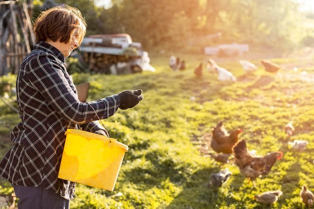 Mujer alimentando a las gallinas