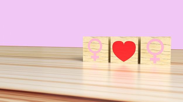 La mujer ama a la mujer. símbolos femeninos con corazón, concepto de relación lésbica