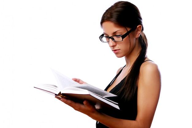 Mujer, en, anteojos, con, libro