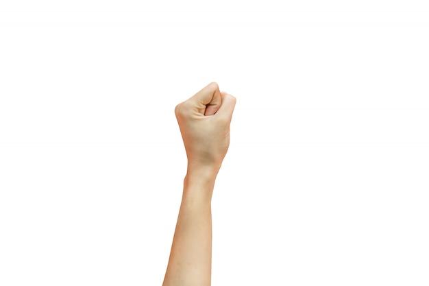 Mujer apretando mano aislado blanco