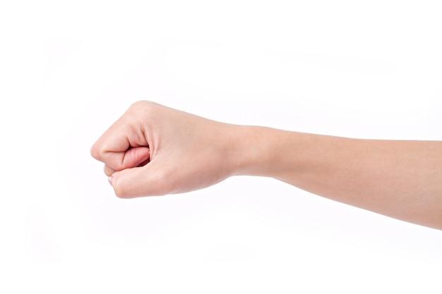 Mujer apretó el puño aislado