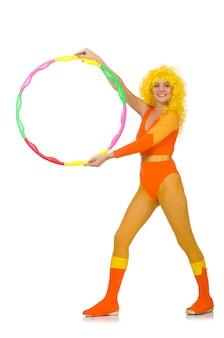 Mujer con aro de hula aislado