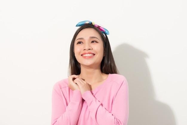 La mujer asiática es feliz