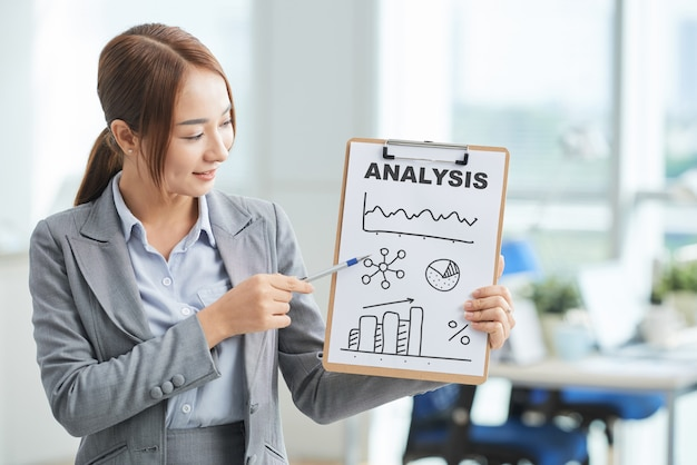 Mujer asiática en traje de pie en la oficina y apuntando al portapapeles con póster y palabra