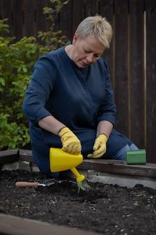 Mujer atractiva que riega la planta joven en suelo del jardín de la regadera amarilla