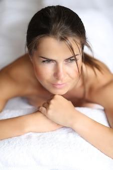 Mujer, en, balneario