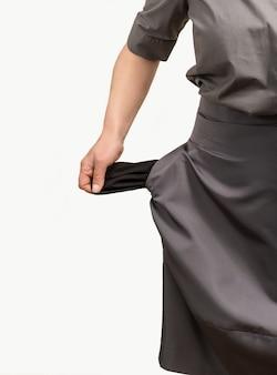 Mujer bolsillos vacíos aislado fondo blanco mano negro